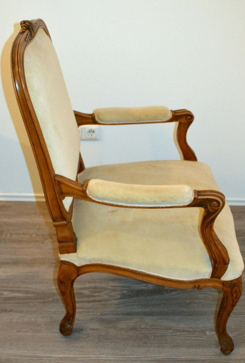 Möbel,Sessel,Rokoko-Stil,Eiche, wohl um 1850,helle Polsterung 3