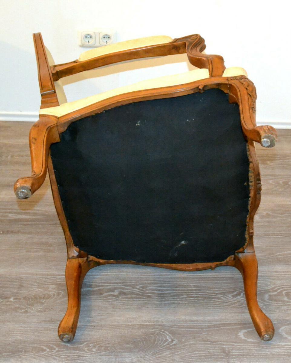 Möbel,Sessel,Rokoko-Stil,Eiche, wohl um 1850,helle Polsterung 4