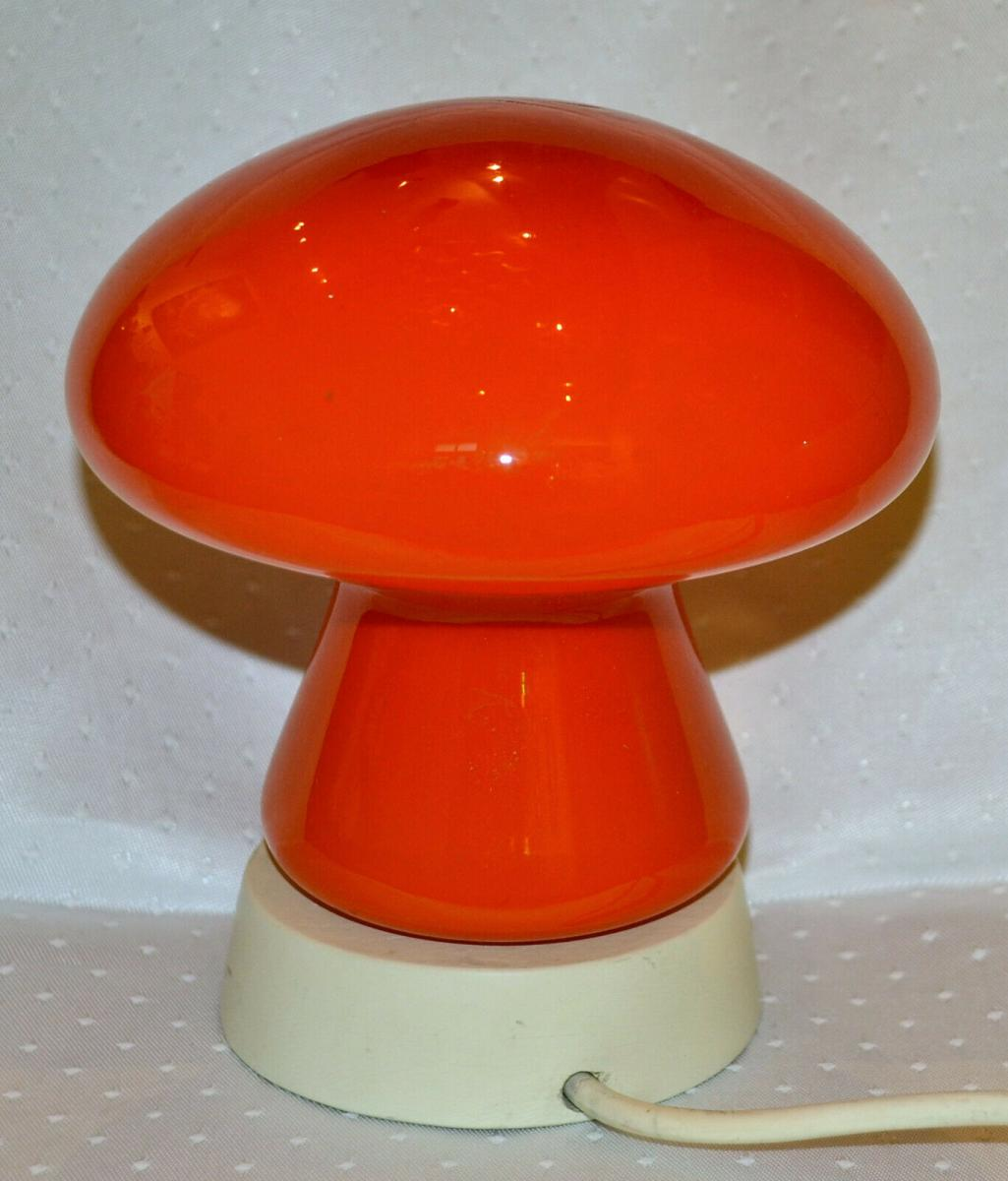 Tischlampe,Pilz,1950,rotes Glas,wohl Italien 0