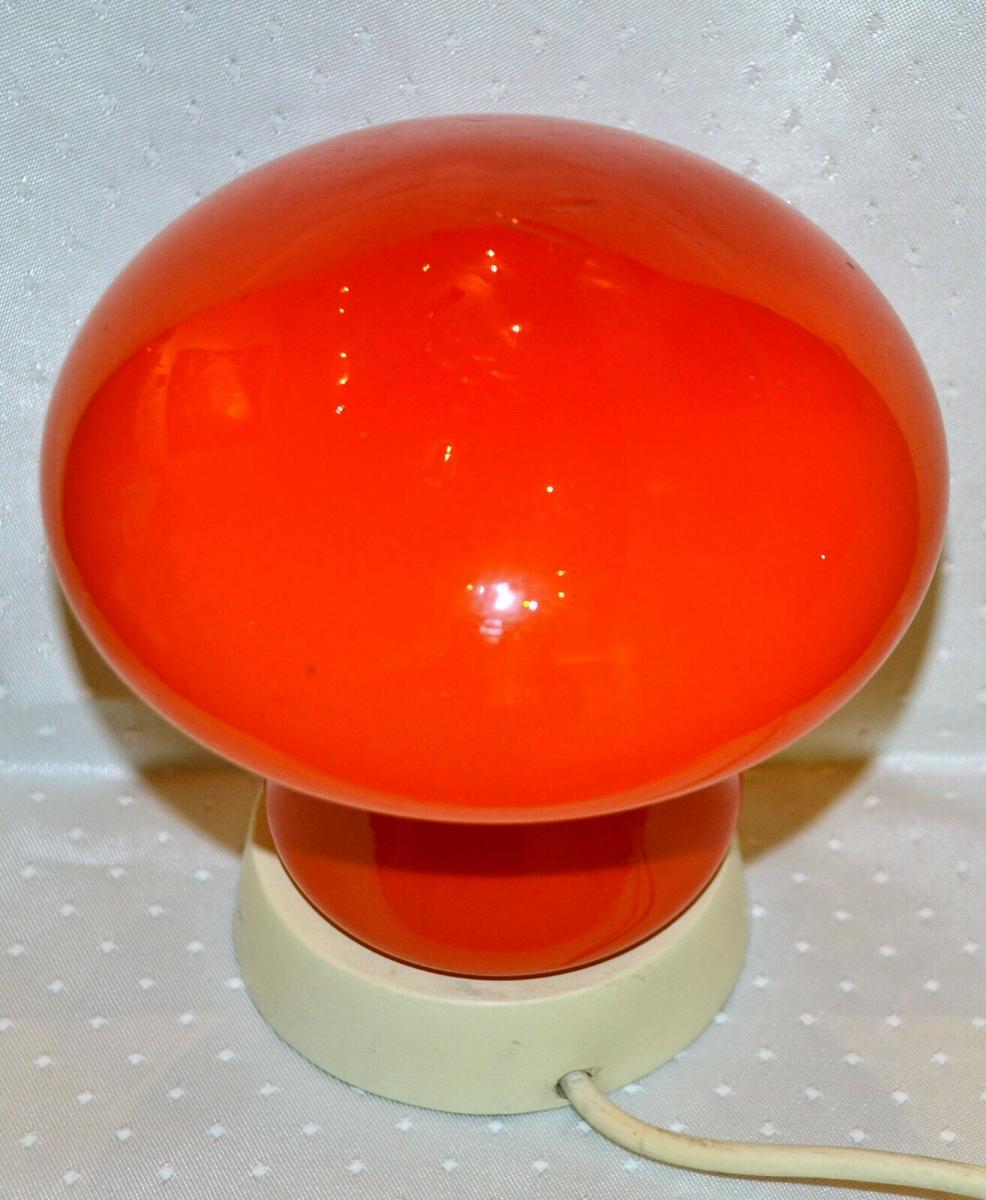Tischlampe,Pilz,1950,rotes Glas,wohl Italien 1