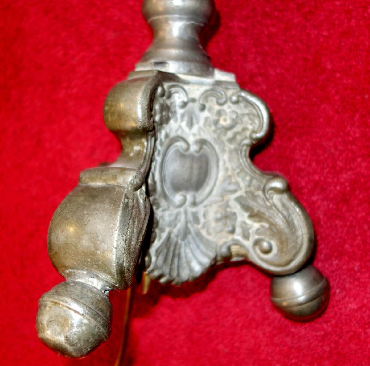Stehlampe,Barockstil ,Zinn,aus altem Zinnkerzenleuchter gefertigt 4