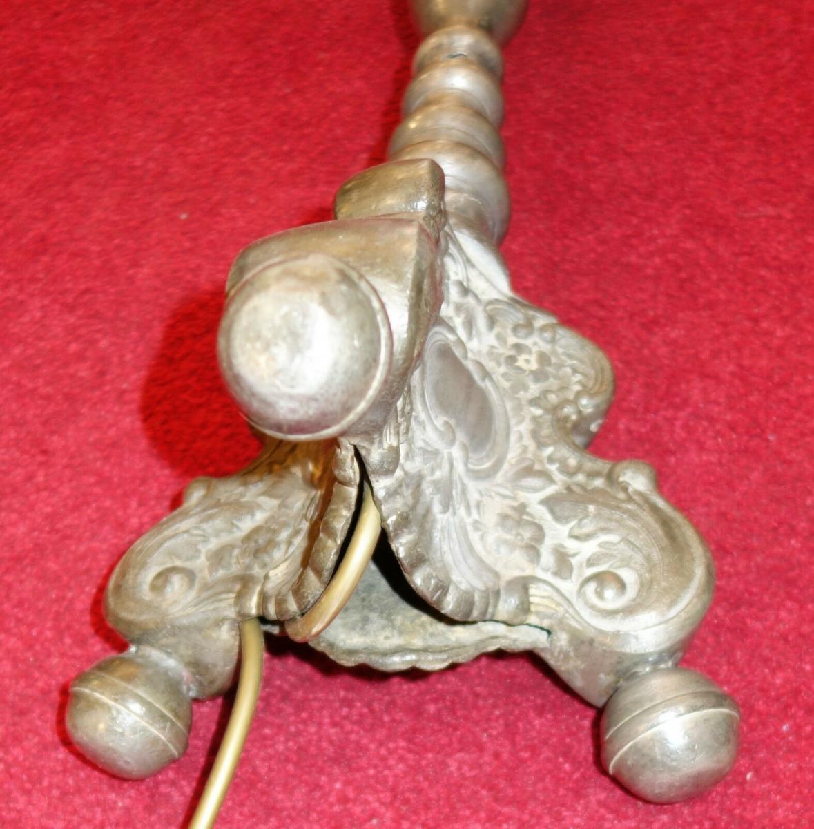 Stehlampe,Barockstil ,Zinn,aus altem Zinnkerzenleuchter gefertigt 5