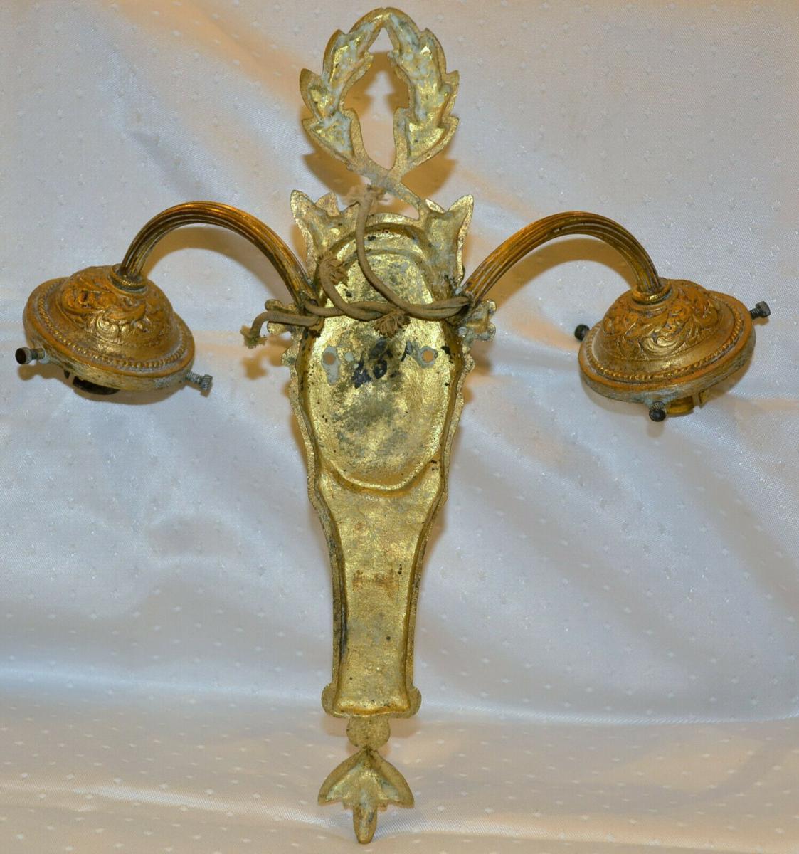 Wandlampe,zweiarmig,vergoldet,um 1900,wohl Großbritannien 2