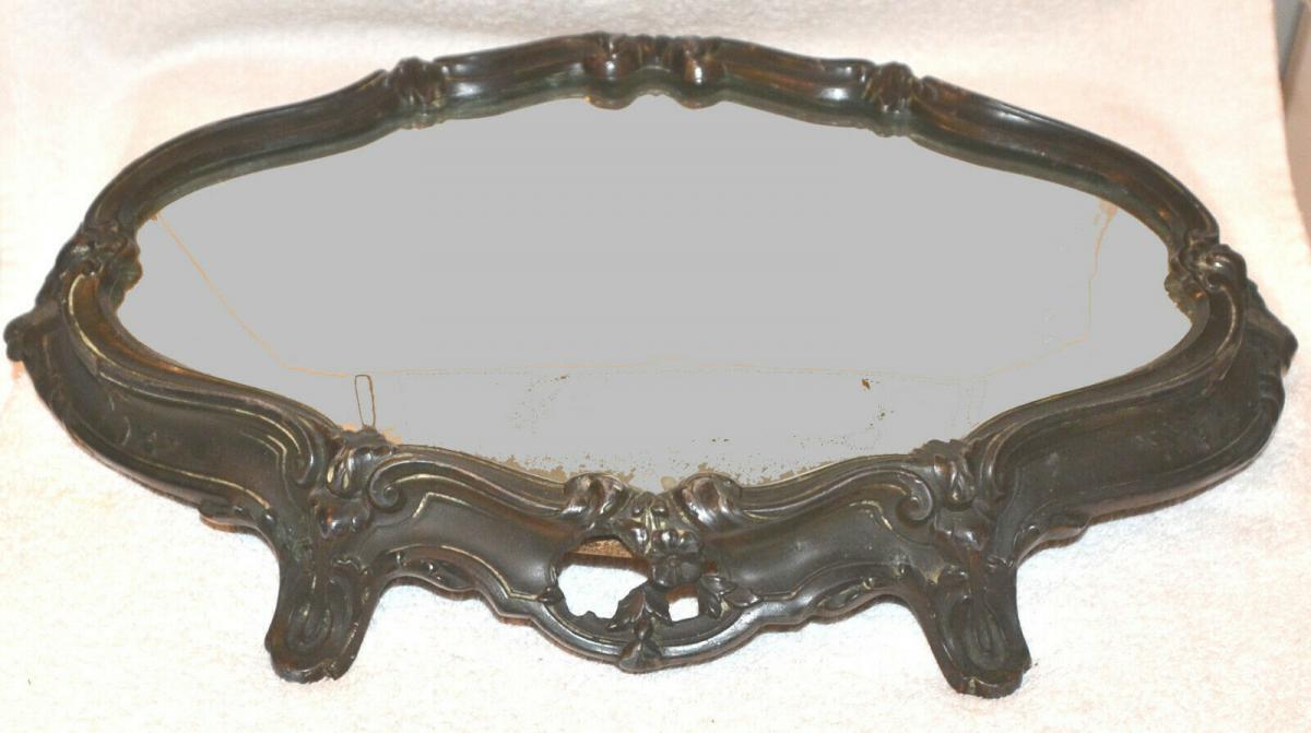 Tisch-Konsole,Tischdekoration,Art Noveau, 1870,Kupfer brüniert ,Spiegelplatte 0