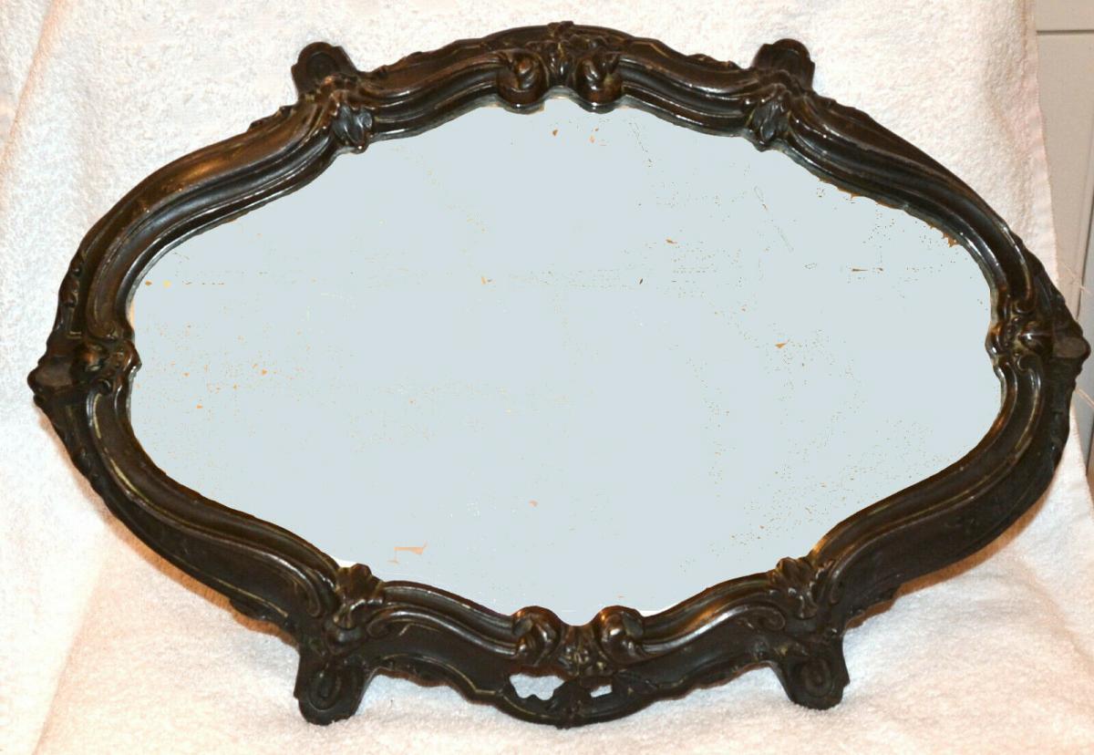 Tisch-Konsole,Tischdekoration,Art Noveau, 1870,Kupfer brüniert ,Spiegelplatte 1