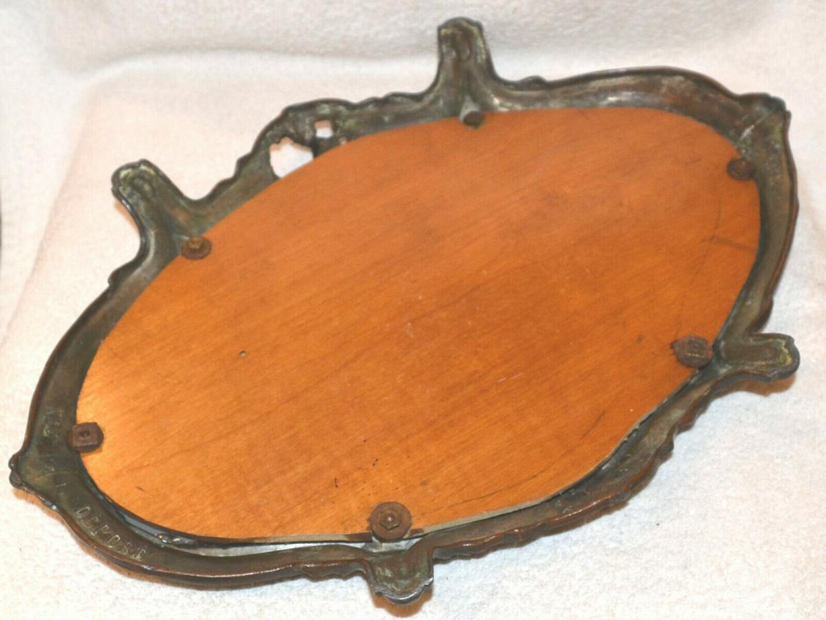 Tisch-Konsole,Tischdekoration,Art Noveau, 1870,Kupfer brüniert ,Spiegelplatte 2