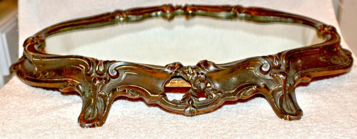 Tisch-Konsole,Tischdekoration,Art Noveau, 1870,Kupfer brüniert ,Spiegelplatte 4