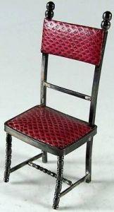 Seltener Puppenspielzeug Stuhl mit Bezug 925 er Silber.