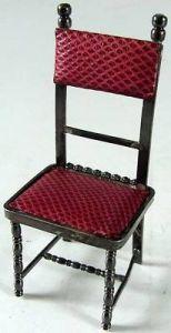 Seltener Puppenspielzeug Stuhl mit Bezug 925 er Silber