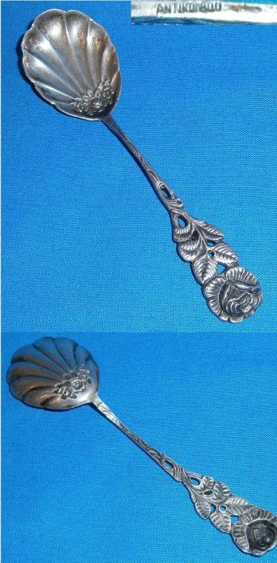 original alter Zuckerlöffel mit Muschellaffe und Rosenmuster 800 Silber