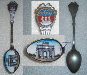 Toller Sammler-Löffel PARIS mit Wappen und Laffe aus Emaille 0