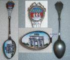 Toller Sammler-Löffel PARIS mit Wappen und Laffe aus Emaille