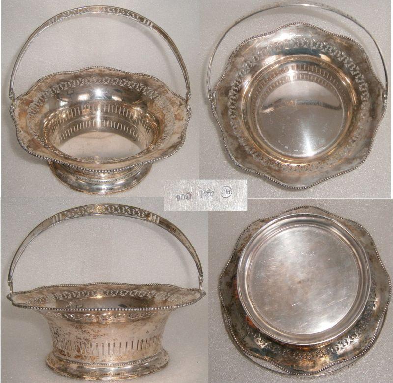 Silber-Schale/Korb mit Henkel 800 Silber Seybold & Hirschauer Hanau