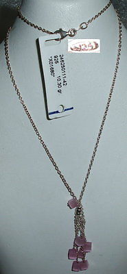 Collier aus 925 Silber mit  synth. Cateye rosa neuwertig aus Geschäftsauflösung