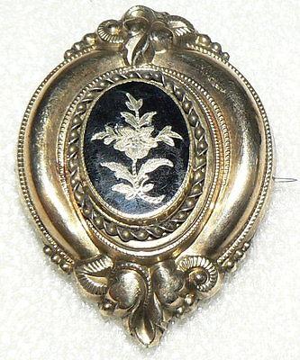 Biedermeier-Brosche aus Doublé mit Emaille,7,6 Gramm, (da2816)