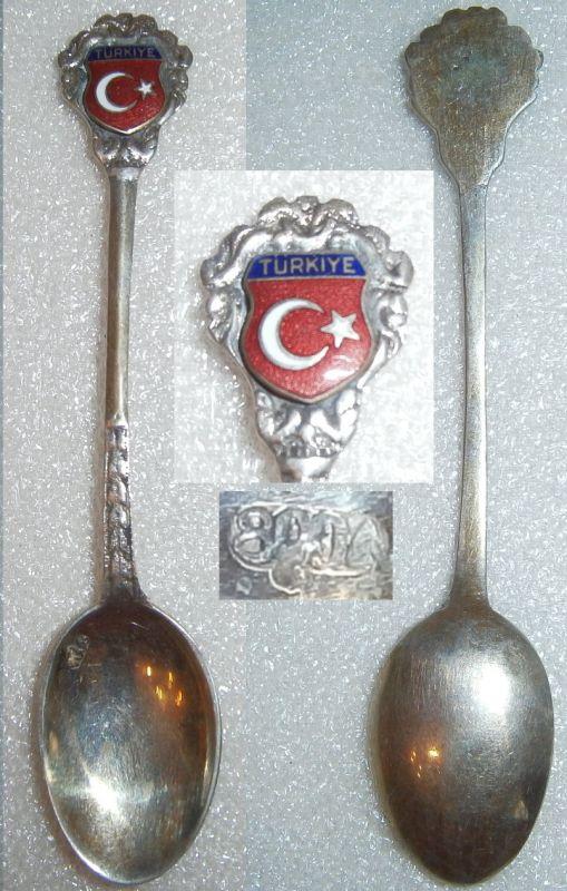 Toller Sammler-Löffel Türkei/Türkiye aus 800 Silber mit Wappen aus Emaille