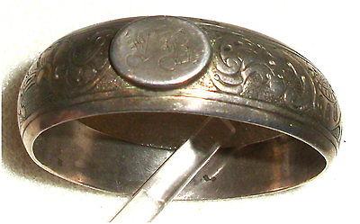 Gründerzeit Serviettenring Silber mit Monogram L B  (da3347)