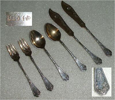 Gründerzeit 2 Kuchengabeln, 2 Kaffeelöffel, 2 Vorleger 800er Silber  (da3454)