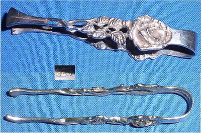 Sehr schöne kleine Zuckerzange aus 835er Silber Hildesheimer Rose  (da3474)