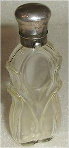Feiner englischer Parfümflakon Biedermeier Silberverschluß mit Wappen  (da3338)