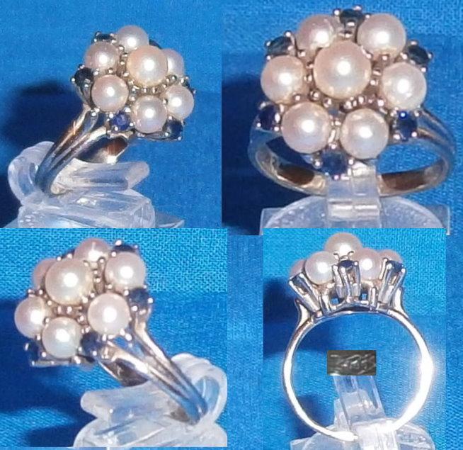 Ring 585 Weißgold mit Perlen und Saphiren, Größe 53