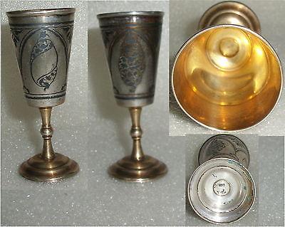 Toller alter russischer Wodka-Becher massiv Silber  (da3613)