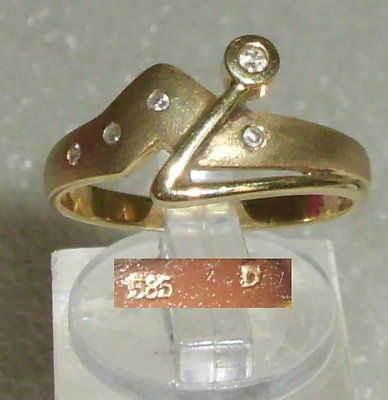 Ring aus 585er Gold mit Diamanten 0,05 ct.,  Gr. 58, Ø 18,5 mm (da3642)