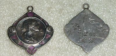 Jugendstil-Anhänger aus 800er Silber mit Emaille von 1908(da3757)