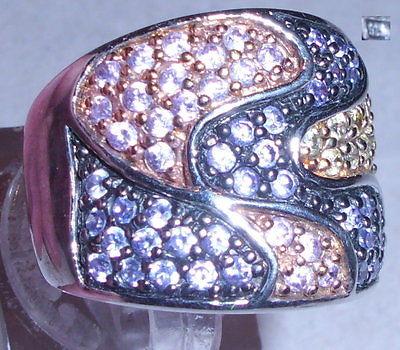 Ring aus 925er Silber mit weißen Steinen, Gr. 58 Ø 18,5 mm (da3834)