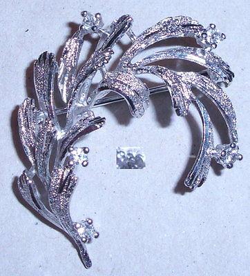 Tolle Brosche aus 925er Silber mit weißen Kristallen, neuwertig (da3839)