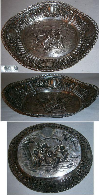Gründerzeit-Silberschale aus 800 Silber Engel mit Rosen