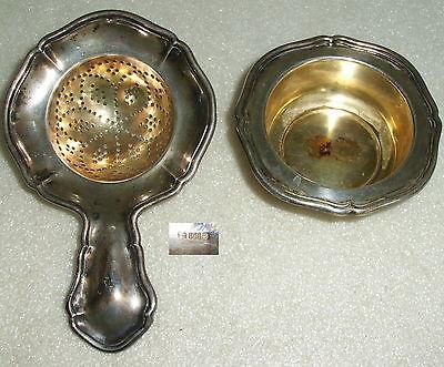 Sehr schönes Teesieb mit Abtropfbehälter aus 800er Silber  (da4079)