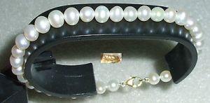 Tolles altes Perlen-Armband mit Verschluß aus 375er Gold  (da3785)