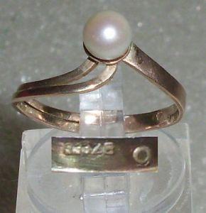 Ring aus 333er Gold mit Perle, Gr. 52 Ø 16,6 mm (da3782)