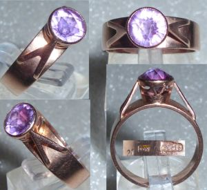 Toller sehr edler russischer  Ring Gr. 54  aus 583 Gold mit tollem Amethyst