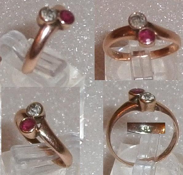 Toller sehr edler Ring Gr. 53  aus 585 Gold mit Diamant ca. 0,2 ct. und Rubin