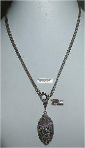 Jugendstil-Kette mit Anhänger aus 835er Silber mit Diamant 0,02 ct. (da3235)