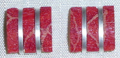 Ohrringe aus 925 Silber mit Spongakoralle neuwertig aus Geschäftsauflösung