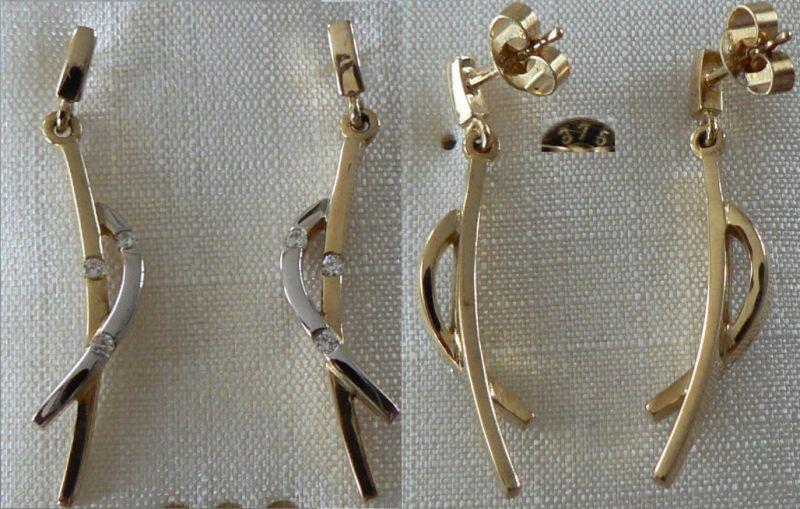 Ohrringe aus 333 Gold mit Zirkonia neuwertig aus Geschäftsauflösung