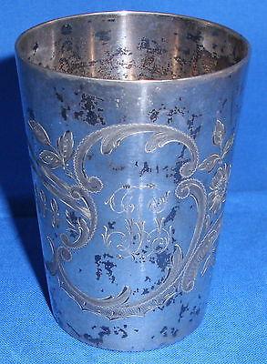 Wilhelm Binder Trinkbecher aus 800er Silber mit Prunkmonogramm
