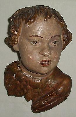 Barocker Puttenkopf aus Holz geschnitzt    (da4176)
