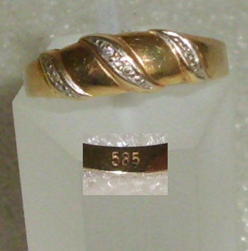 Ring aus 585er Gold mit winzigen Diamanten (da4179)
