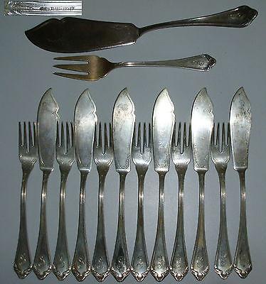 Friedländer u. Eisner Fischbesteck aus 800er Silber 14 Teile  (da4206)