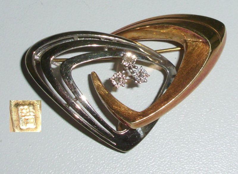 Tolle Brosche aus 585er Gold mit Diamanten 0,15 ct. (da4231)