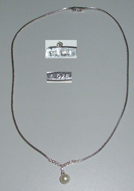 Bezauberndes Collier aus 585 Weißgold mit Perle und Diamanten 0,25 ct (da4229)