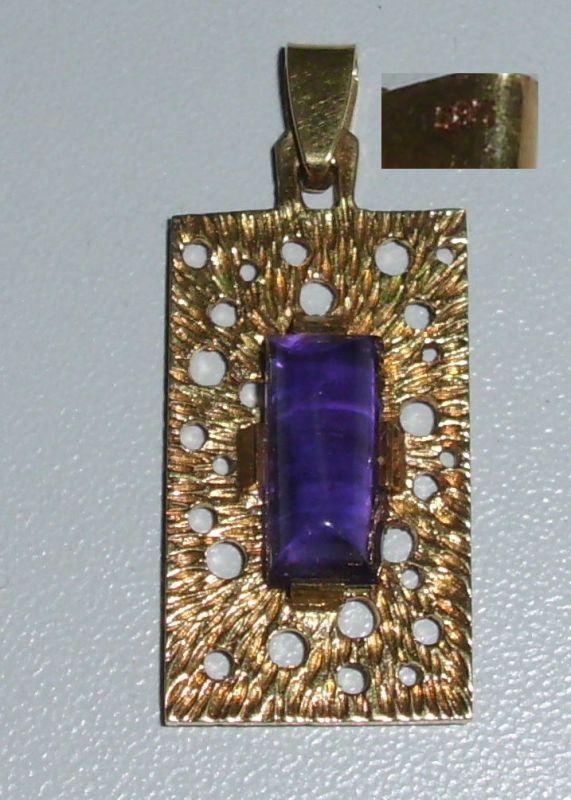 Tolle Brosche aus 585er Gelbgold mit Amethyst  (da4070)