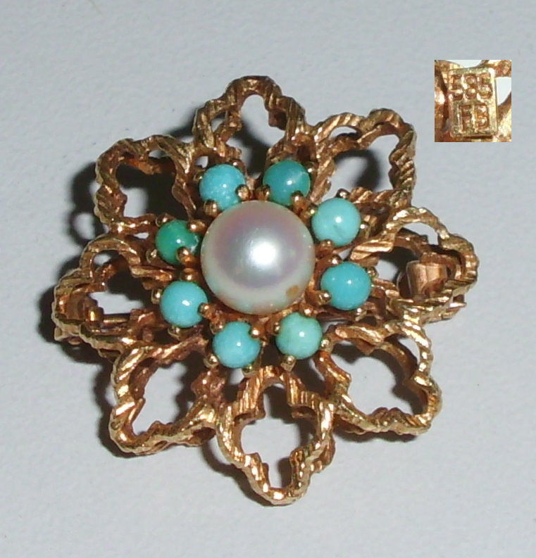 Tolle Brosche aus 585er Gold mit Perle und Türkise (da4234)
