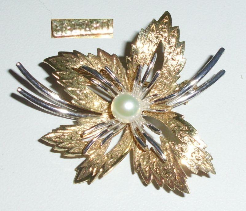 Tolle Brosche aus 585er Gelbgold und Weißgold mit Perle (da4232)
