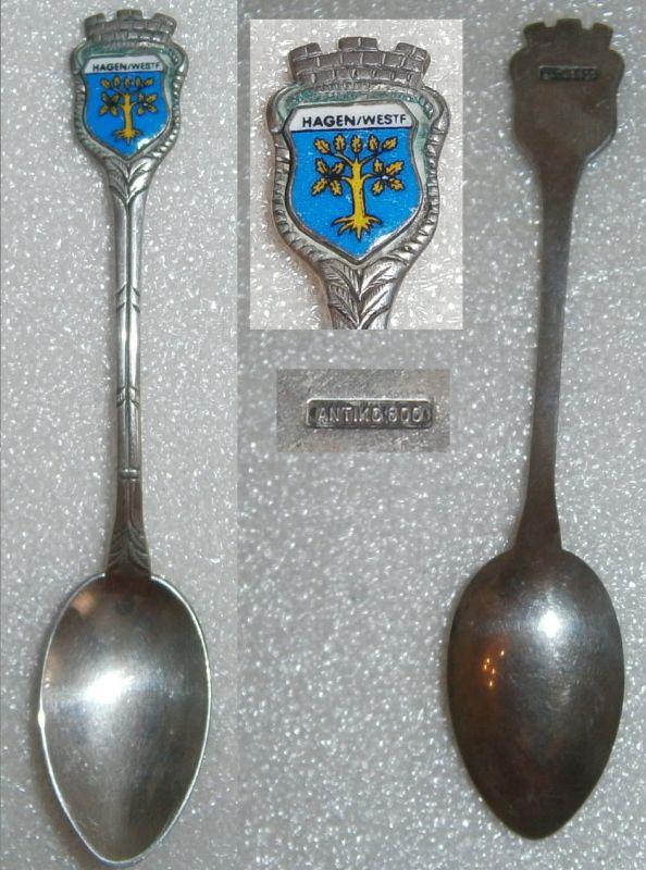 Toller Sammler-Löffel HAGEN/WESTF. aus 800 Silber mit Wappen aus Emaille