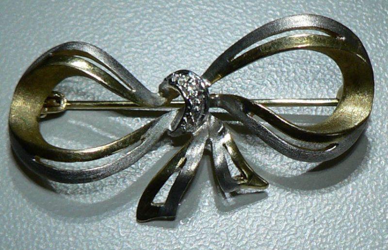 Tolle Brosche Schleife aus 333er Gelbgold und Weißgold mit Diamanten (da4224)